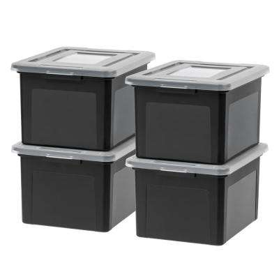 35 Qt. Dual Purpose Letter and Legal-Size File Storage Box in Black (4-Pack)