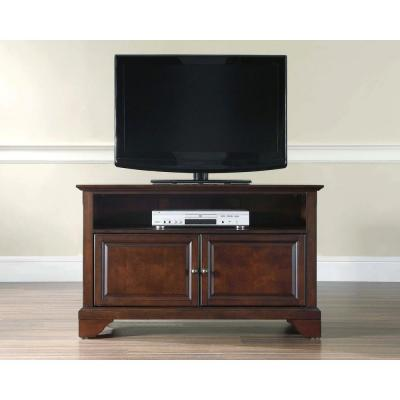LaFayette 42 in. Mahogany Wood TV Stand Fits TVs Up to 44 in. with Storage Doors