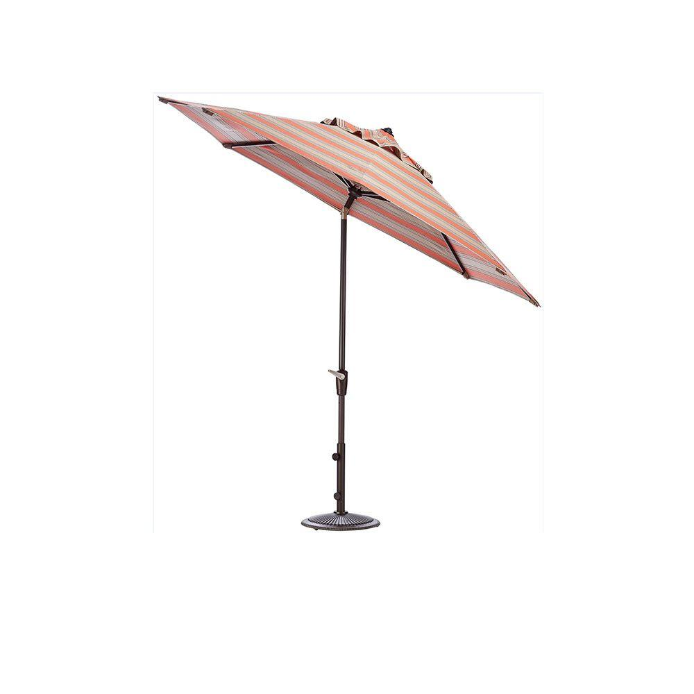 Home Decorators Collection 9 ft. Auto-Tilt Patio Umbrella in Passage Poppy Sunbrella with Bronze Frame