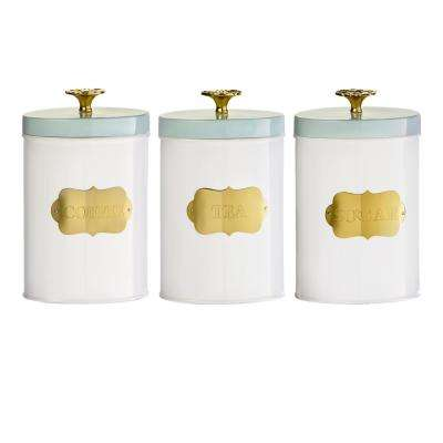 Colette 3-Piece Metal Storage Canister Set with Gold Accents