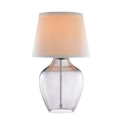 14 in. Smoked Glass Accent Lamp with White Shade