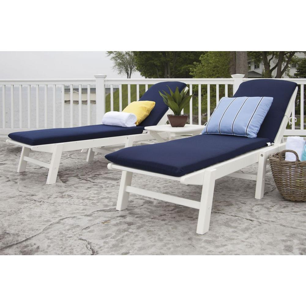 Nautical White 3 Piece Plastic Patio Chaise Set With Sunbrella White/Navy  Cushions