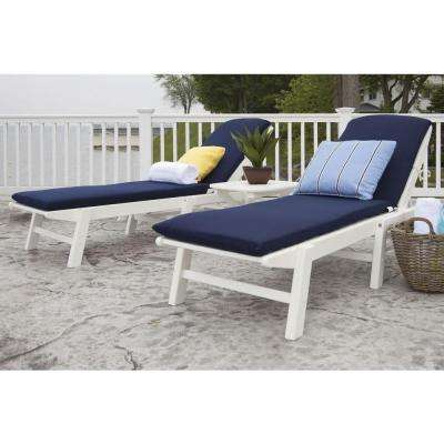 Nautical White 3-Piece Plastic Patio Chaise Set with Sunbrella White/Navy Cushions