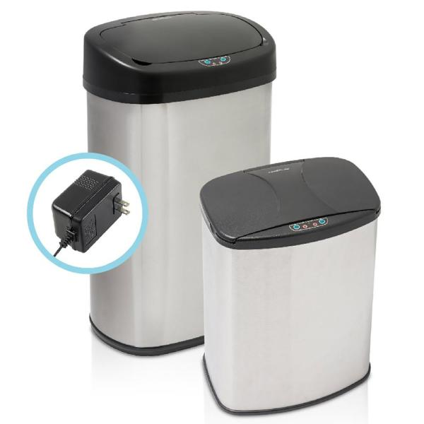 Brushed Stainless Steel 2-Piece Motion Sensor Trashcan Set with Included Wall Adapter