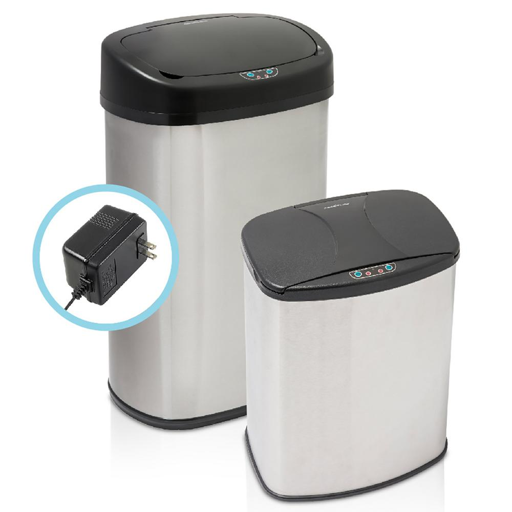 HamiltonBeach Hamilton Beach Brushed Stainless Steel 2-Piece Motion Sensor Trashcan Set with Included Wall Adapter, Combination Pack