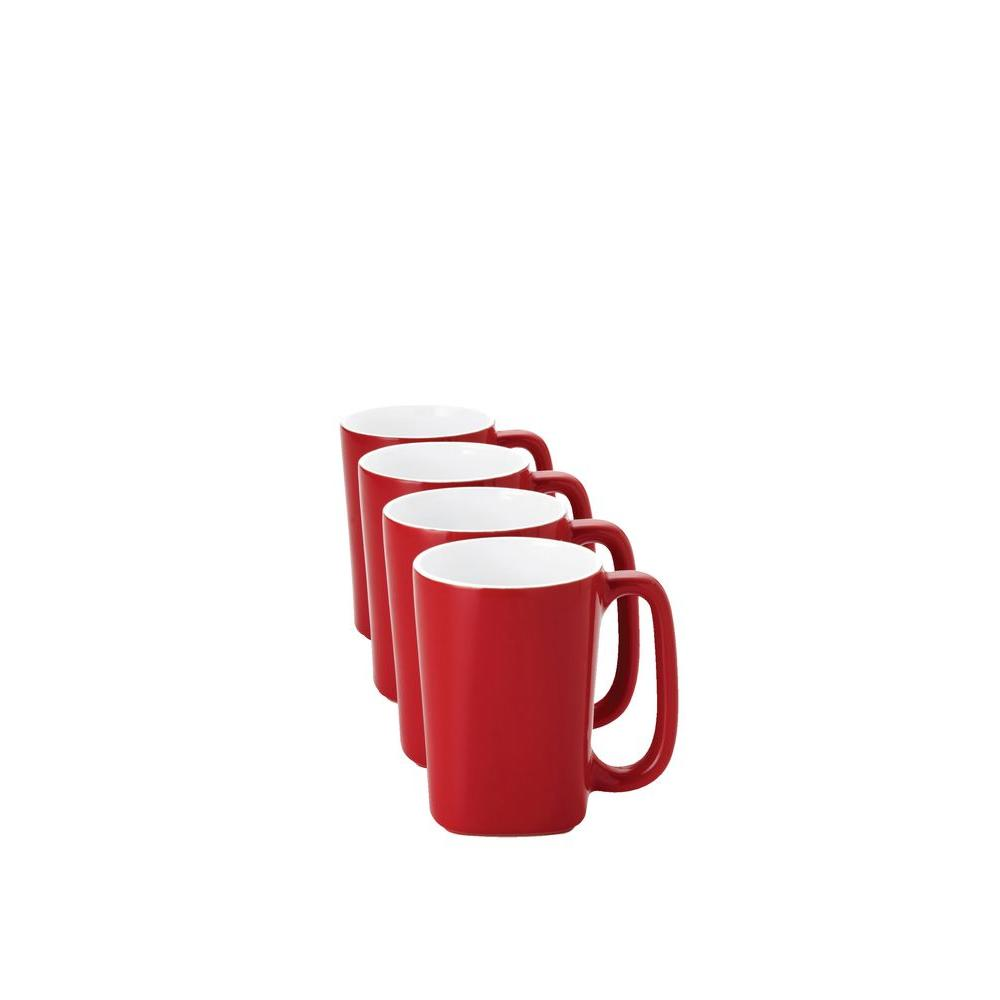 Rachael Ray Round and Square 14 oz. Mugs in Red (4-Pack)