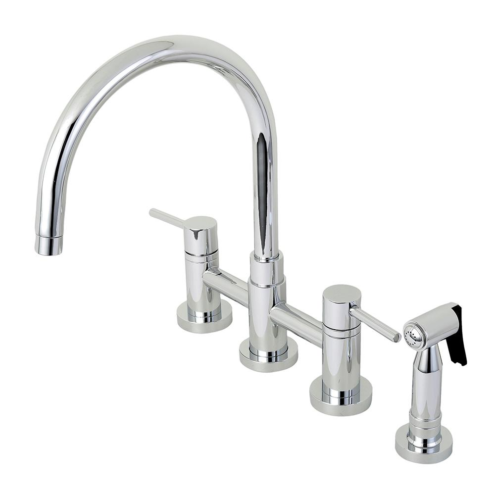 Modern 2-Handle Bridge Kitchen Faucet with Side Sprayer in Chrome