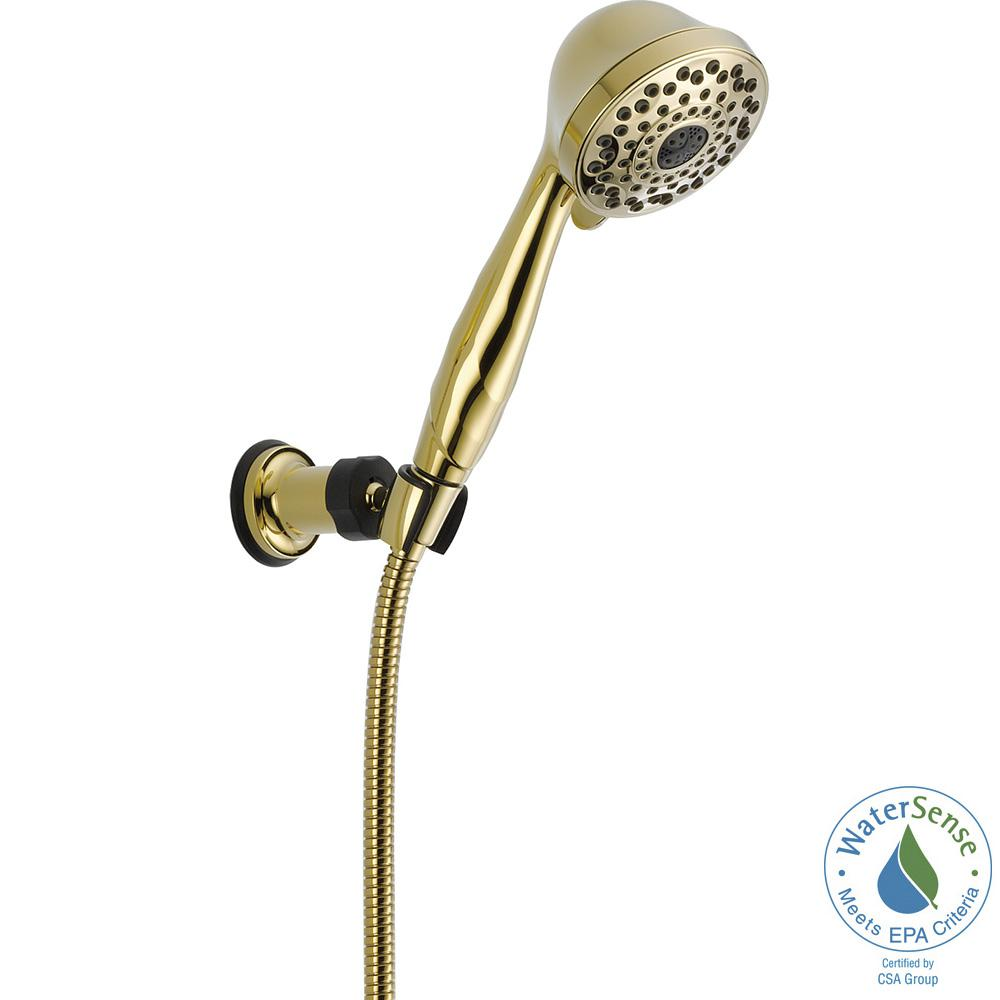 7-Spray Adjustable Wall Mount Hand Shower with Pause in Polished Brass