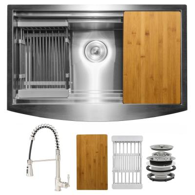 Handmade All-in-One Farmhouse Stainless Steel 30 in. x 20 in. Single Bowl Kitchen Sink with Spring Neck Faucet Accessory