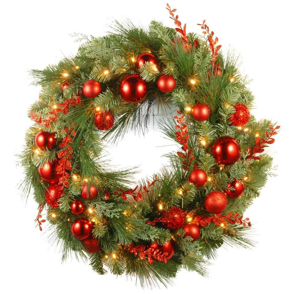 National Tree Company 30 in. Battery Operated Decorative Collection Christmas Red Mixed Wreath with Warm White LED Lights