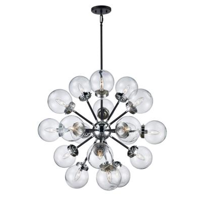 18-Light Polished Chrome/Black Pendant
