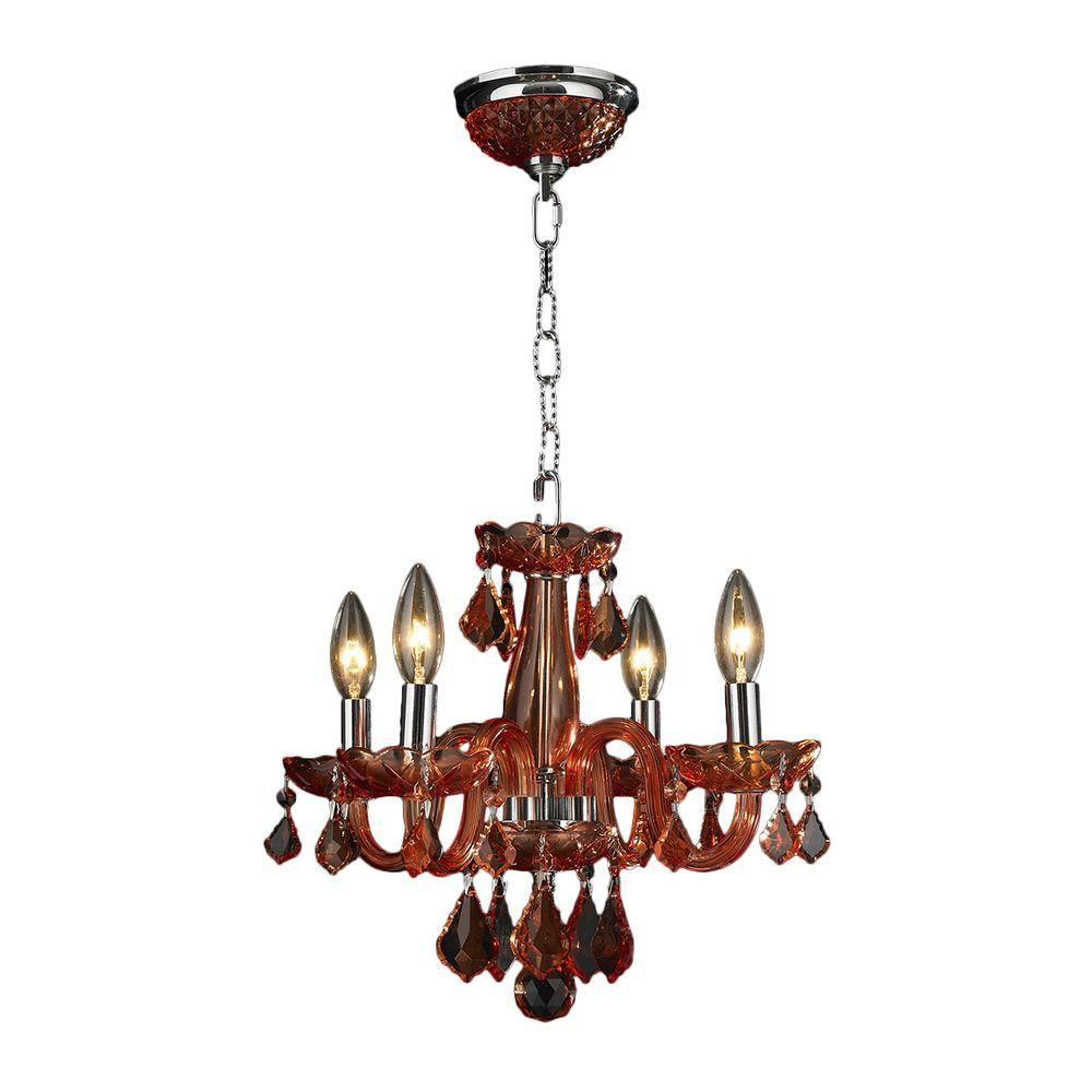 Clarion 4-Light Polished Chrome Crystal Chandelier with Coral Red