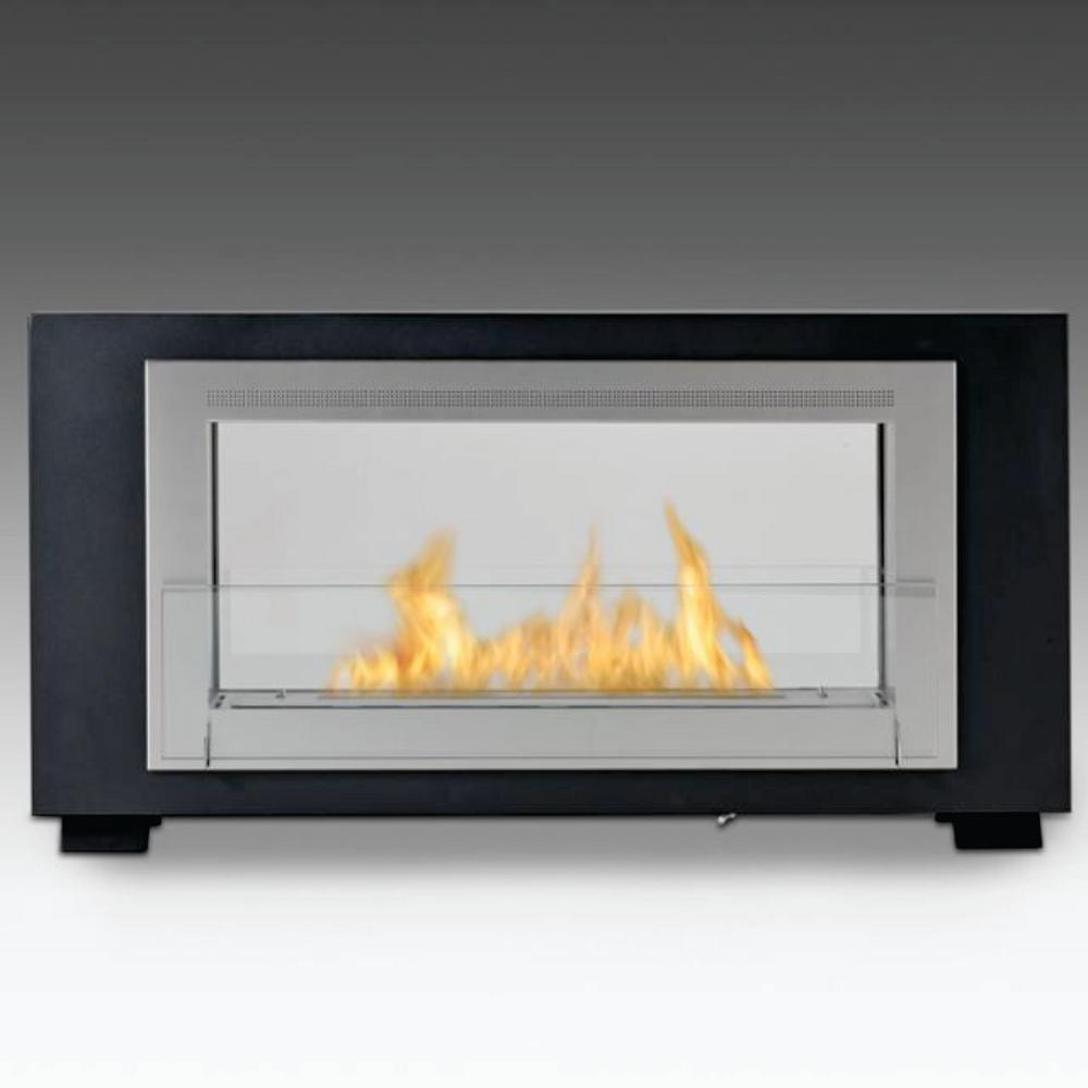 Montreal 2-sided 41 in. Ethanol Free Standing Fireplace in Matte Black