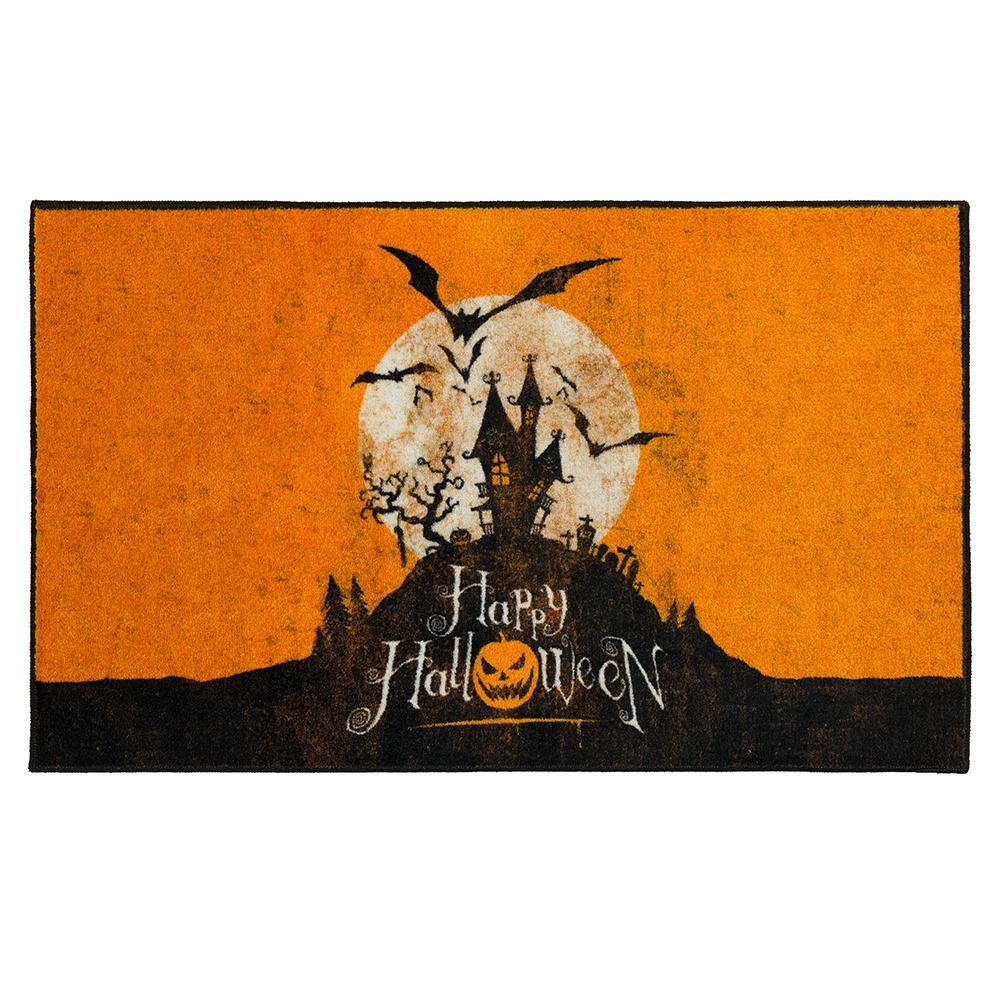 Mohawk Home Halloween Hill Orange 2 ft. 6 in. x 4 ft. 2 in. Halloween Indoor Area Rug, Orange/ Black/ White