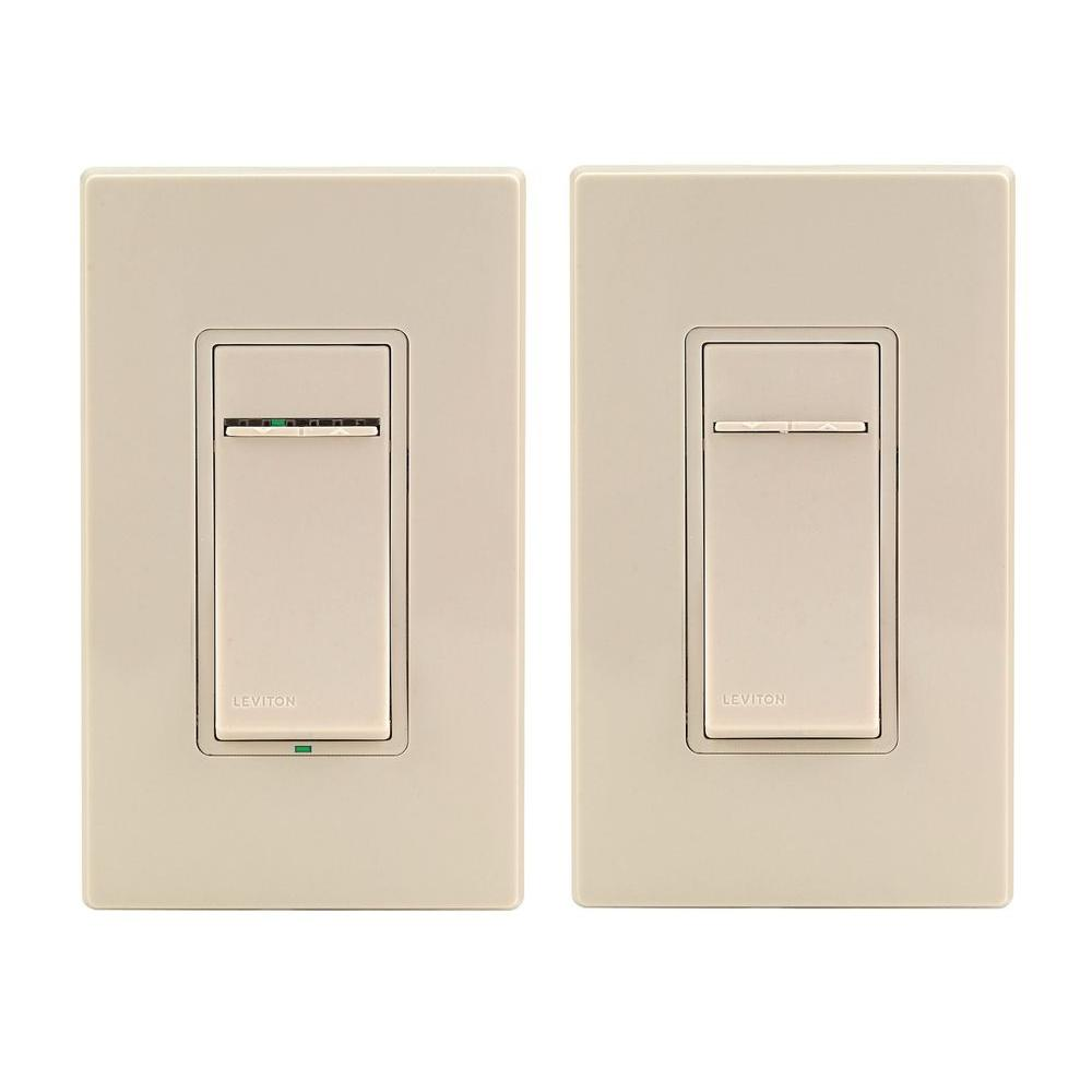Leviton Vizia Plus 600-Watt Digital Dimmer and Remote Kit with Locator Light - Light Almond-DISCONTINUED
