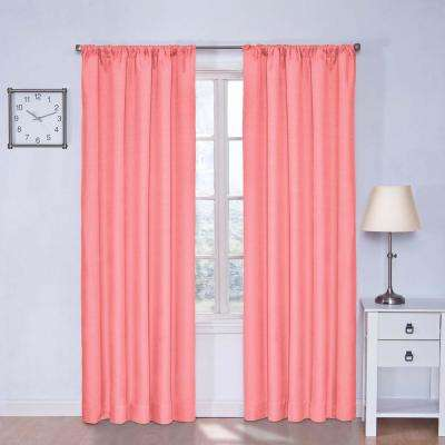 Kendall 84 in. L Polyester Curtain in Coral