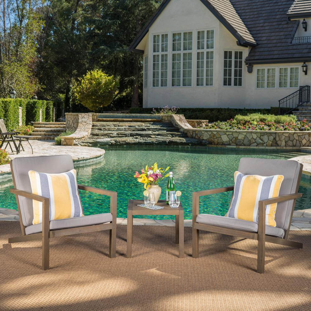 Noble House 3-Piece Wood Patio Conversation Set with Gray Cushions