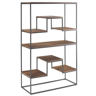 61 in. Light Walnut Brown Metal 7-shelf Accent Bookcase