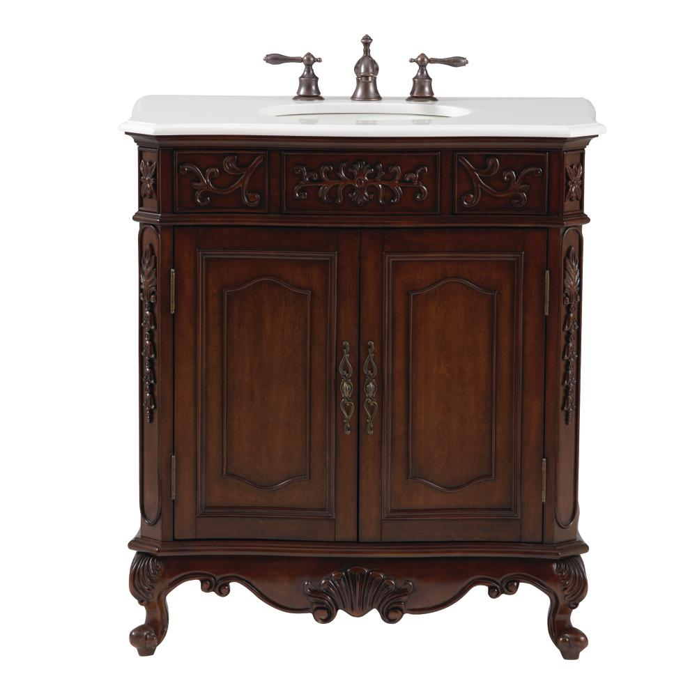 Home Decorators Collection Winslow 33 In W Vanity In Antique Cherry With Faux Marble Vanity Top
