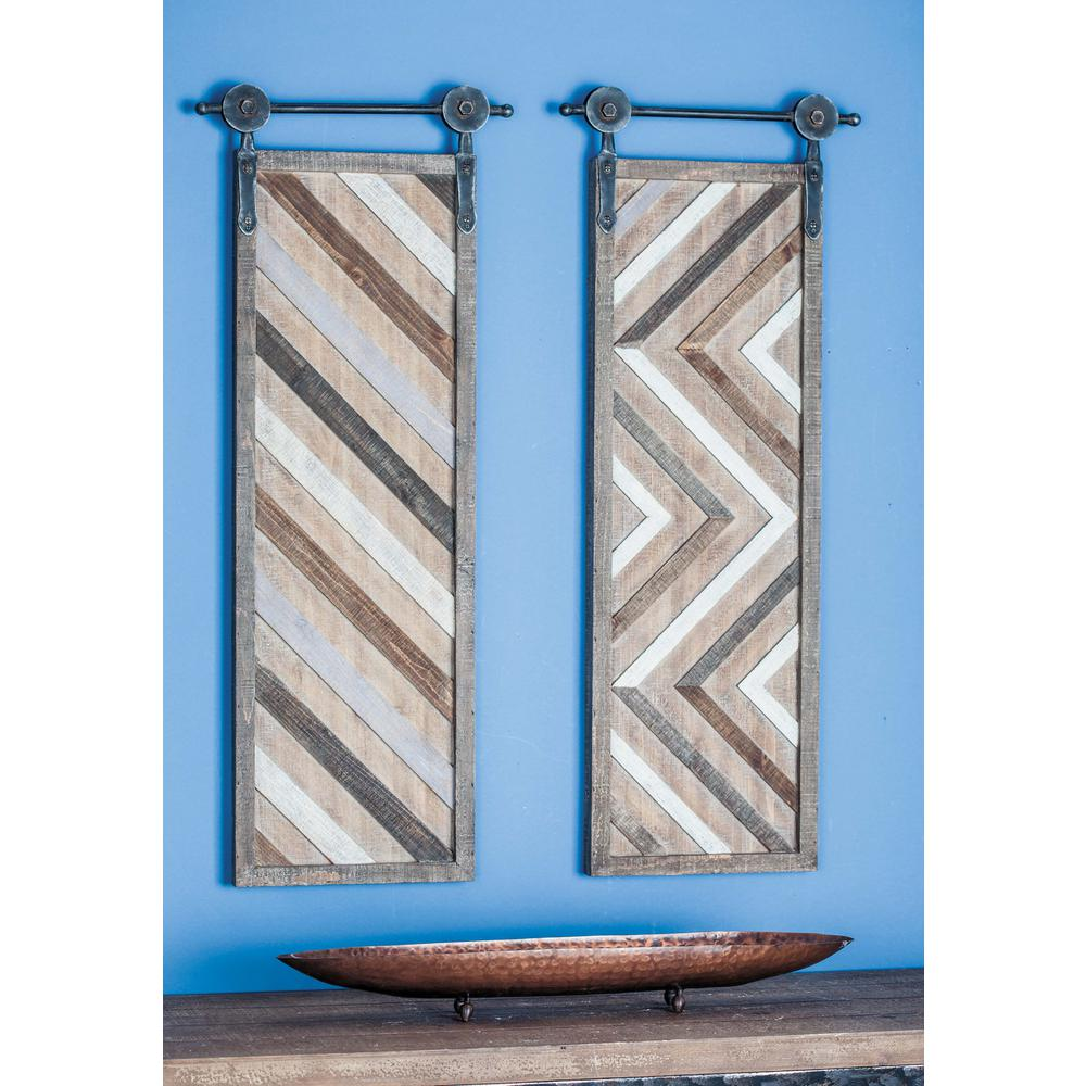 16 in. x 39 in. Brown and White Stripes and Herringbone