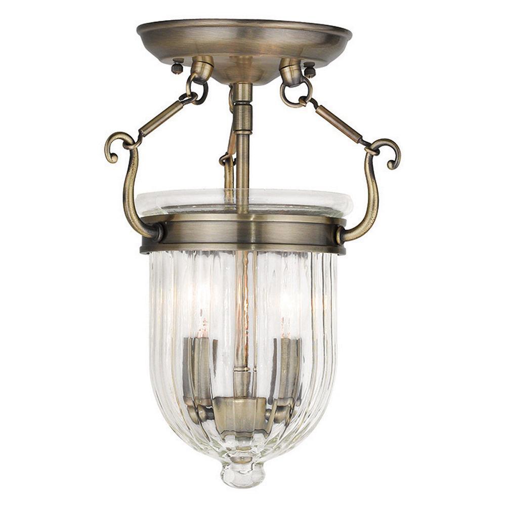 Coventry 2-Light Antique Brass Flushmount