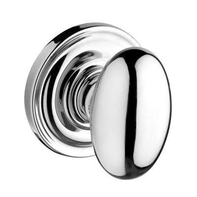 Reserve Ellipse Polished Chrome Full-Dummy Door Knob with Traditional Round Rose