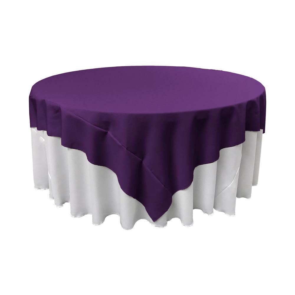 90 in. x 90 in. Purple Polyester Poplin Square Tablecloth
