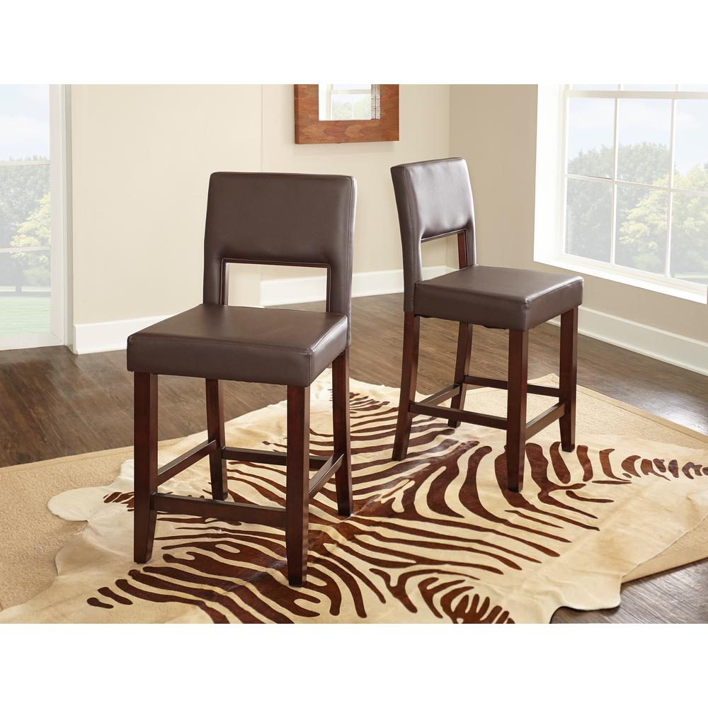 Home Decorators Collection Vega 24 in. Dark Brown Cushioned Bar Stool