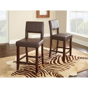 Groovy Linon Home Decor Vega 24 In Dark Brown Cushioned Bar Stool Unemploymentrelief Wooden Chair Designs For Living Room Unemploymentrelieforg
