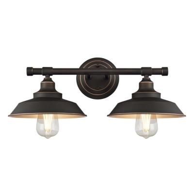 Iron Hill 2-Light Oil Rubbed Bronze with Highlights Wall Mount Bath Light