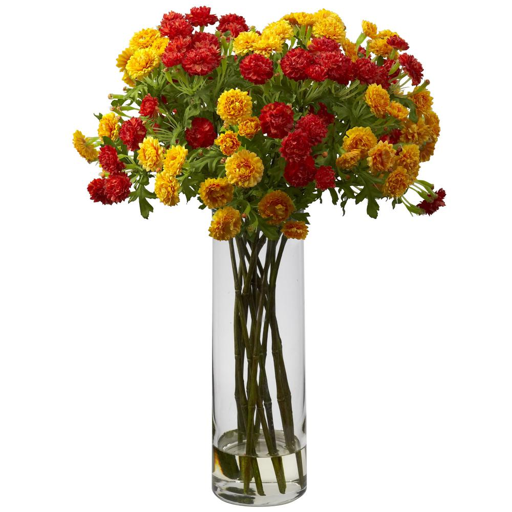 Nearly Natural Japanese Silk Flower Arrangement in Orange Yellow Let the sun shine in with our Japanese Floral and vase. This offering resembles a densely packed collection of freshly cut colorful flowers, and creates a stunning yet serene addition to any location. So much so, one cant help but to reflect upon their beauty and let out a peaceful sigh. Set in a tall glass vase with liquid illusion, this 17 high arrangement is sure to brighten up anyones day.