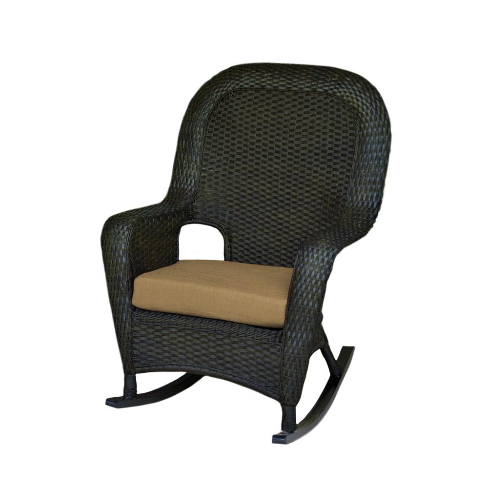 Sea Pines Tortoise Wicker Outdoor Rocking Chair with Rave Sahara Cushion