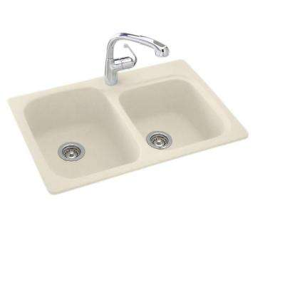 Drop-In/Undermount Solid Surface 33 in. 1-Hole 55/45 Double Bowl Kitchen Sink in Bone