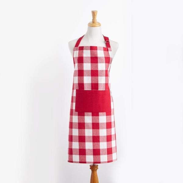 Elrene Farmhouse Living Buffalo Check Red/White Kitchen Apron with Pocket