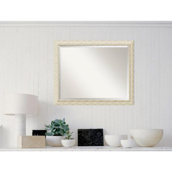 Cape Cod White Wash Wood 32 in. W x 26 in. H Distressed Framed Mirror