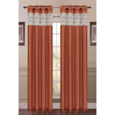 Semi-Opaque Felicity Embroidered Faux Silk 54 in. W x 84 in. L Grommet Extra Wide Curtain Panel in Rust
