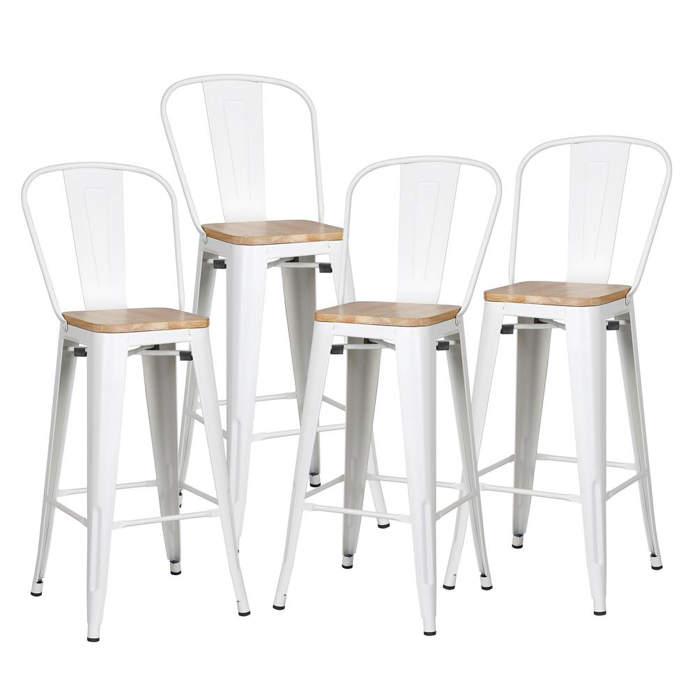 Alpine White High Back Bar Stool With Solid Oak