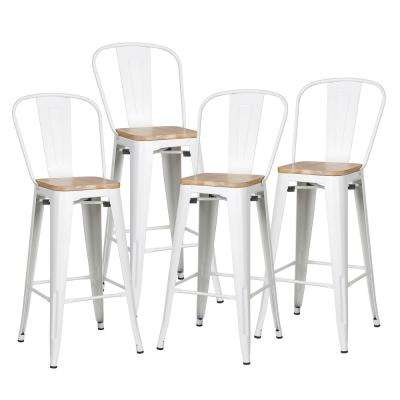 Trattoria 30 in. Alpine White High Back Bar Stool with Solid Oak Seat (Set of 4)