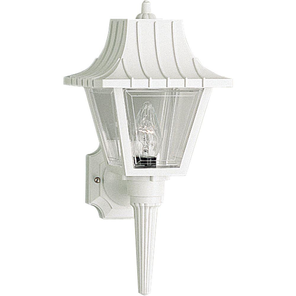 Mansard Collection 1-Light Outdoor White Wall Lantern