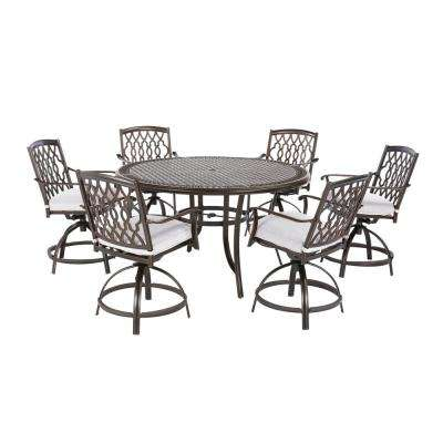 Ridge Falls 7-Piece Dark Brown Aluminum Outdoor Patio High Dining Set with Bare Cushions