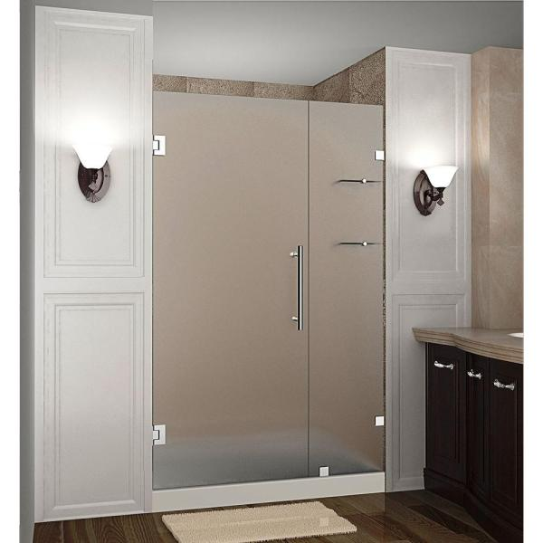 Nautis GS 42 in. x 72 in. Frameless Hinged Shower Door with Frosted Glass and Glass Shelves in Stainless Steel