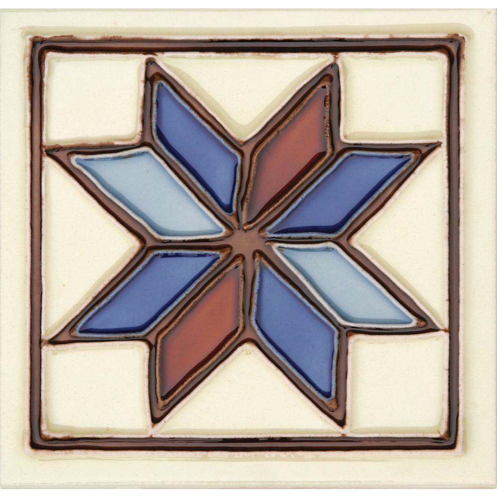 Hand-Painted Ceramic Estrella 6 in. x 6 in. x 6.35 mm Glazed Ceramic Wall Tile (2.5 sq. ft. / case)