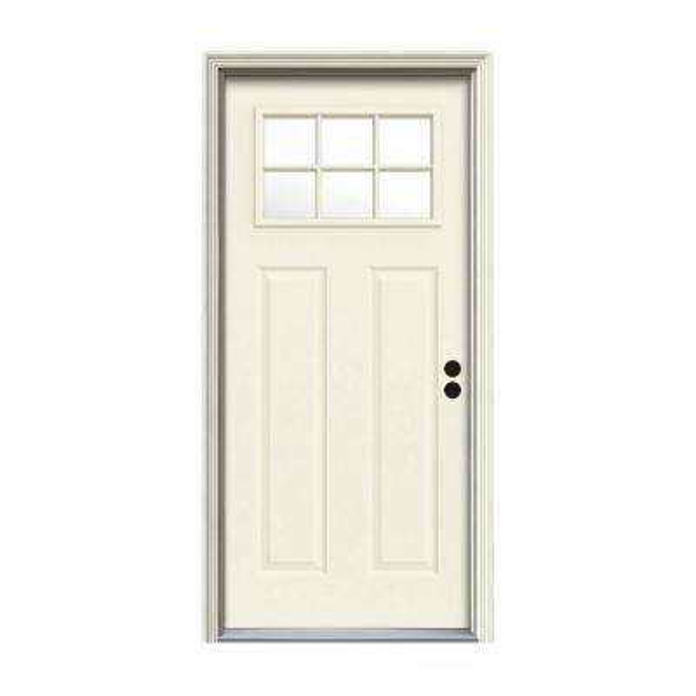 32 in. x 80 in. 6 Lite Craftsman Vanilla Painted Steel Prehung Left-Hand Inswing Front Door w/Brickmould