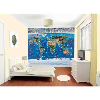 120 in. H x 96 in. W Map of the World Wall Mural