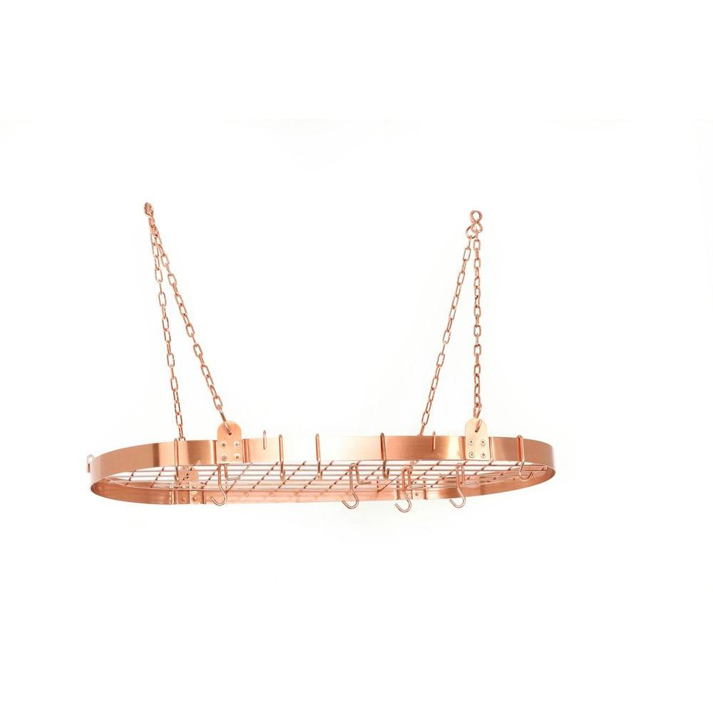 Oval Dutch Lighted Pot Rack Copper Timeless Wrought Iron
