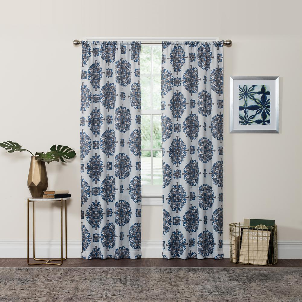 Blackout Olivia 95 in. L Navy Rod Pocket Curtain (1-Pack)