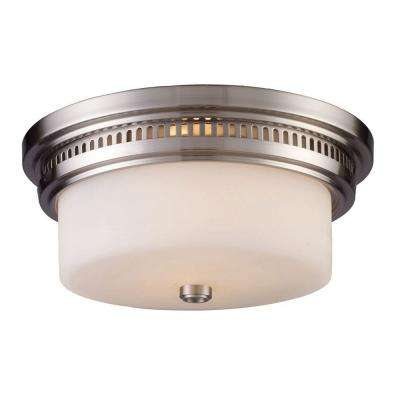 Chadwick 2-Light Satin Nickel Ceiling Flushmount