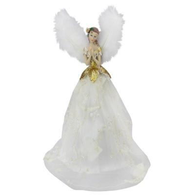10 in. Angel Tree Topper in Ivory Dress with Sheer Ivory Overlay