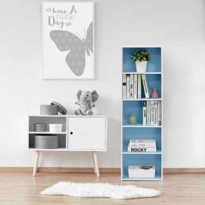 White and Light Blue 5-Tier Reversible Color Open Shelf Bookcase