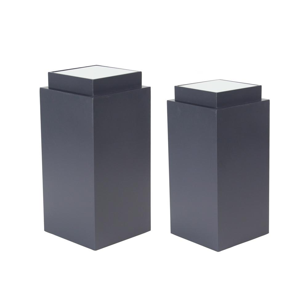 Black Rectangular Wooden Pedestals with White Tabletop (Set of 2)
